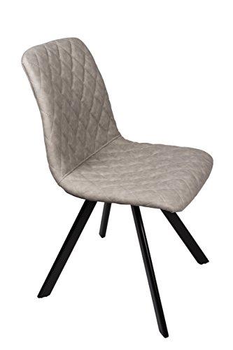 SAM Esszimmerstuhl Spider, Kunstlederbezug in Grau, abgestepptes Design, schwarz lackierte Beine aus Metall, bequeme Polsterung, pflegeleichter Stuhl