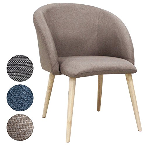 SVITA extra breiter Polsterstuhl rund Stuhl Küchen-Stuhl Stoff Holz-Beine Retro Vintage Stil Esszimmerstuhl (Braun)