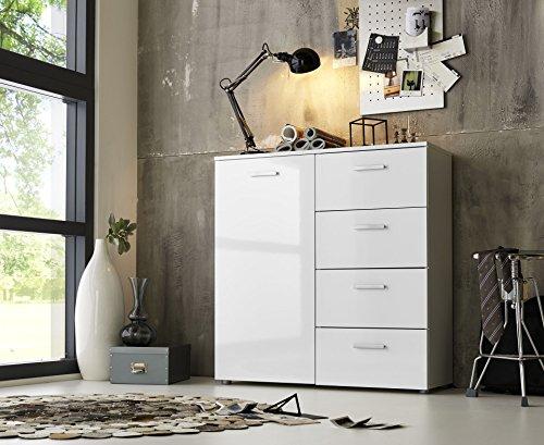 Schubladen Kommode Sideboard Anrichte MARBELLA in Hochglanz Weiß - Made in Germany direkt vom Hersteller- Höhe 91cm, Breite 88cm, Tiefe 32cm