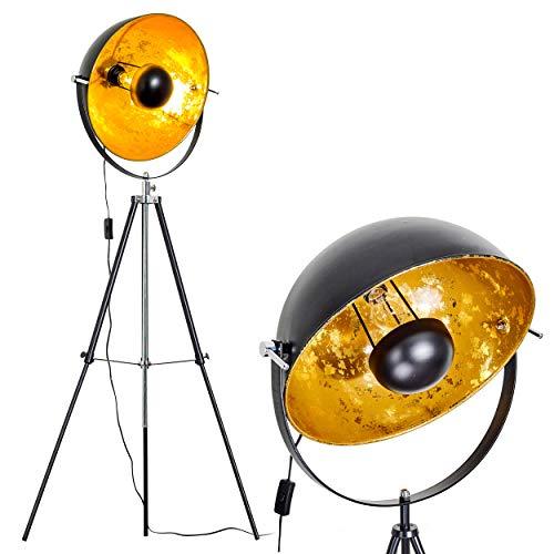 Stehlampe Gold Saturn L - Stehleuchte höhenverstellbar - Stehlampe Retro mit E27-Fassung - Sehr auffällige Standleuchte mit dreh- und schwenkbarem Lampenschirm