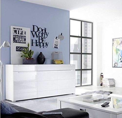 Stella Trading Tiger 44-676-13 Sideboard 3trg, Holzdekor, Weiß, 150 x 87 x 41 cm