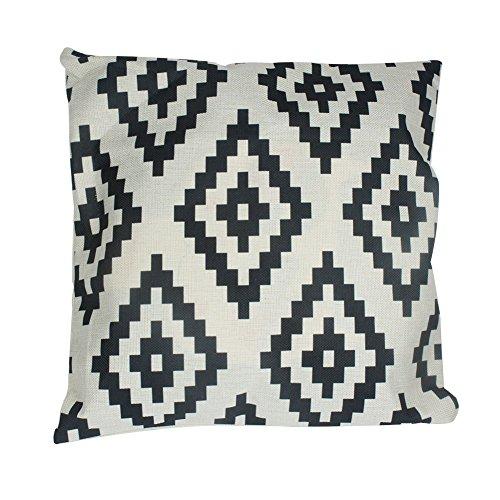 Timorr Leinen Kissen einfache geometrische Muster Kissen Retro elegante Baumwolle Leinen, 45 x 45 cm, schwarz und beige