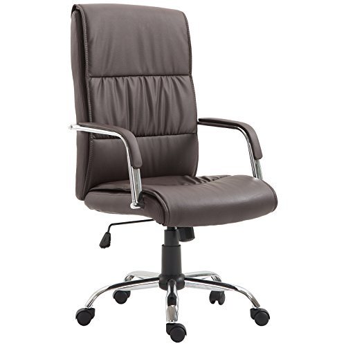 Vinsetto Bürostuhl Drehstuhl Chefsessel Bürosessel mit Wippmechanik Büro Braun 59 x 68 x 110-119cm
