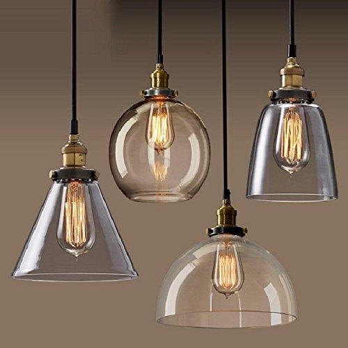 Vintage Bernstein Glas Glocke Schatten Retro Industrial Edison hängen Anhänger Deckenleuchte Loft Bar Küche Insel Kronleuchter E27 (Metall)