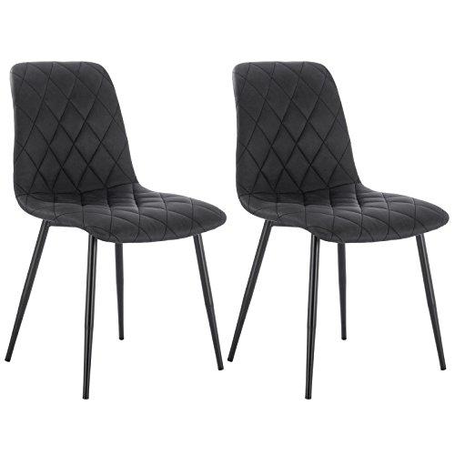 WOLTU 2er Set Esszimmerstühle Küchenstühle Wohnzimmerstuhl Polsterstuhl Design Stuhl Stoffbezug(Antiklederoptik) Gestell aus Stahl Dunkelgrau BH06dgr-2