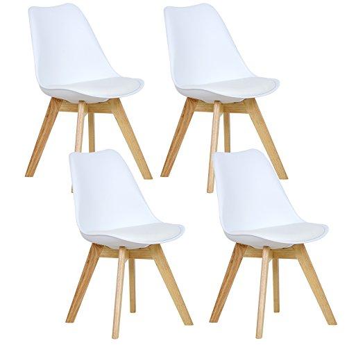 WOLTU® 4er Set Esszimmerstühle Küchenstuhl Design Stuhl Esszimmerstuhl Kunstleder Holz Weiß BH29ws-4
