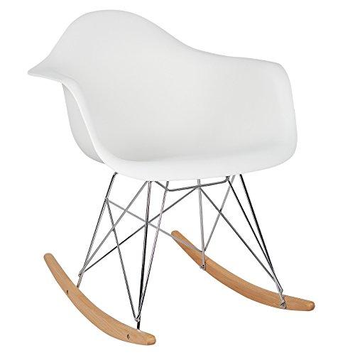 WOLTU® Schaukelstuhl SKS05ws Relaxstuhl Sessel Schaukelsessel Schwingsessel Kunststoff Stahl Holz Weiß