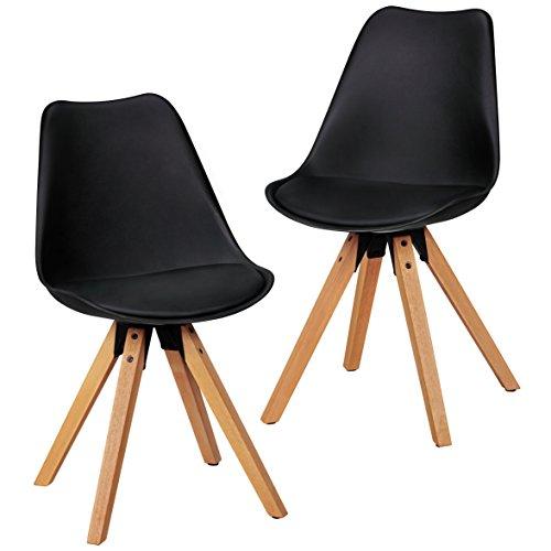 Wohnling 2er Set Retro Esszimmer-Stuhl ohne Armlehne Sitzfläche Kunstleder Küchenstuhl mit Lehne aus Kunststoff und 4 Holz Beinen Skandinavisches Design Essstuhl, Lederimitat, schwarz, 48 x 42 x 87 cm