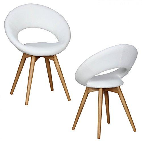 Wohnling Esszimmerstühle Linda gepolstert, mit Holz Beinen und Rücken-Lehne, Polsterstuhl im Skandinavischem Design, Design Küchenstühle Retro Doppelpack Stuhlgruppe Esszimmer, 2er Set, stuhl weiß
