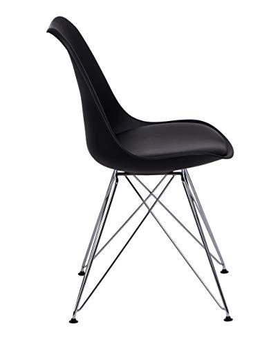 ZOLTA Modern Stuhl PLASTIKSTUHL Designer Esszimmerstuhl Retro Büro Wohnzimmer Bistrostuhl (Schwarz, 1)