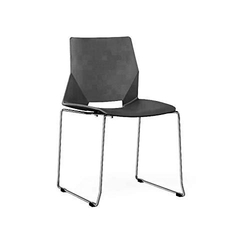 ZOLTA Modern Stuhl Retro-Stil Eiffel Kunststoff Stuhl Esszimmer Büro Skandinavisch Design Küchenstühle (Schwarz, 2)