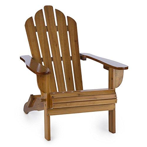 blumfeldt Vermont • Vintage Gartenstuhl • Retro Stuhl • Tannenholz • hohe Rückenlehne • tiefe Sitzfläche • lange Armlehnen • amerikanischer Adirondack • witterungsbeständig • klappbar • braun