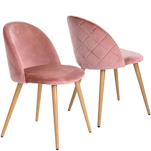 coavas Esszimmerstuhl SAMT Weich Kissen Sitz und Rücken Mit Hölzernen Metallbeinen Küche Stühle für ESS - und Wohnzimmer Stühle Set von 2, Rosa