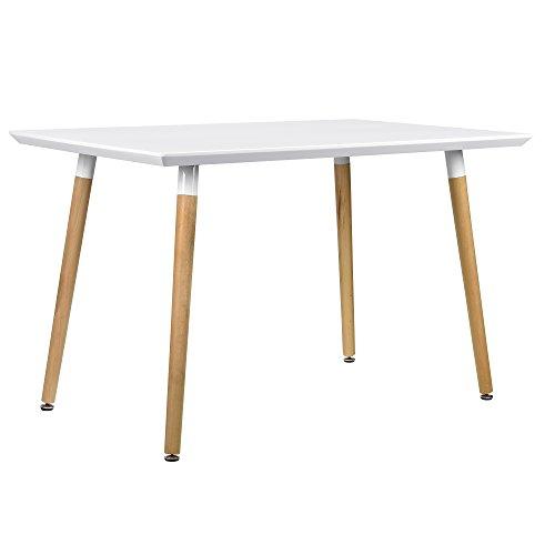[en.casa] Esszimmertisch für 4 Stühle weiß [120x70cm] Esszimmer Essgruppe Wohnzimmer