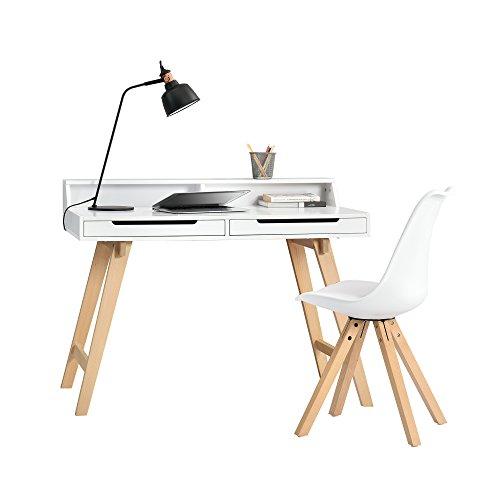 [en.casa] Retro Schreibtisch (85x110x60cm) Weiß Matt Lackiert Schublade mit Stuhl Weiß