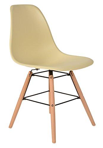 ts-ideen 1 x Design Klassiker Stuhl Retro 50er Jahre Barstuhl Küchenstuhl Esszimmer Wohnzimmer Sitz in Beige mit Holz