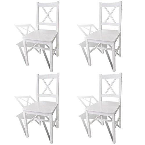 Anself Küchenstuhl Stuhlgruppe aus massiver Kiefer 4 Stück Weiß