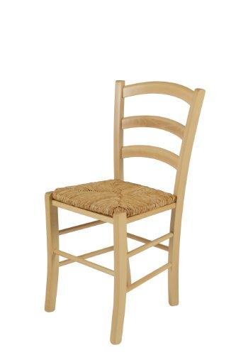 Apollo Holzstuhl Capri III, Buche Massivholz gebeizt, Sitzfläche Binsengeflecht