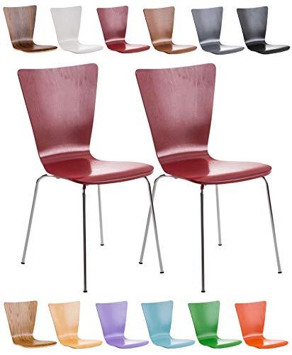CLP 2X Stapelstuhl Aaron mit Holzsitz und ergonomisch geformter Sitzfläche I Konferenzstuhl mit Einer Sitzhöhe von 45 cm I In verschiedenen Farben erhältlich