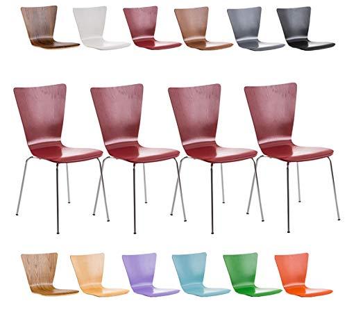 CLP 4er-Set Stapelstuhl Aaron mit Holzsitz und stabilem Metallgestell I 4X Platzsparender Stuhl mit pflegeleichter Sitzfläche I In verschieden Farben erhältlich