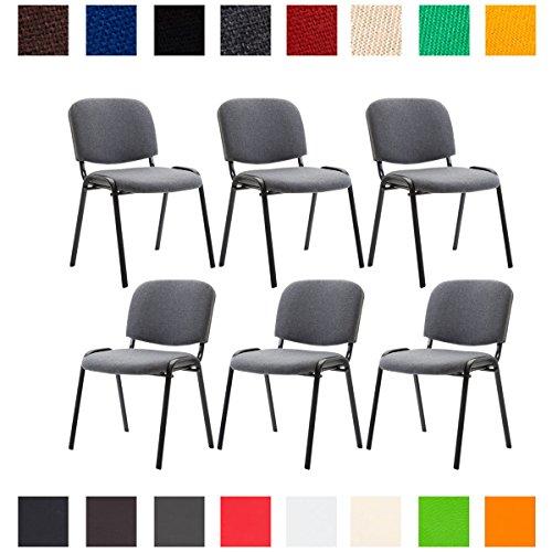 CLP 6X Konferenzstuhl Ken mit Stoffbezug oder Kunstlederbezug I 6 x Stapelstuhl mit Robustem Metallgestell I In Verschiedenen Farben erhältlich