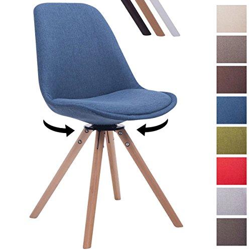 CLP Retrostuhl TROYES RUND mit Stoffbezug und Hochwertiger Polsterung I Drehbarer Stuhl mit Schalensitz und massiven Holzbeinen