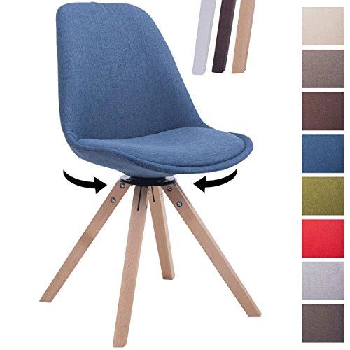 CLP Retrostuhl TROYES Square mit Stoffbezug und Hochwertiger Sitzfäche I Stuhl mit drehbarem Schalensitz und massiven Holzbeinen