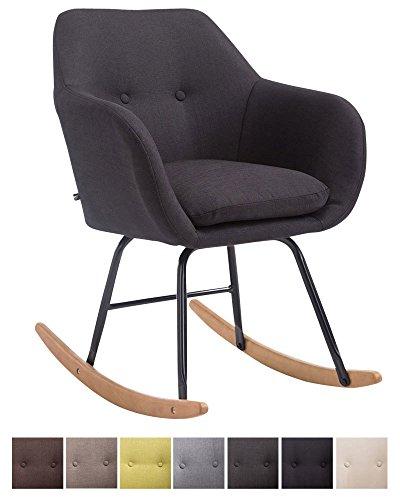 CLP Schaukelstuhl Avalon, Stoff-Sitz, Schaukelsessel mit Metall-Gestell, Relaxsessel mit Holzkufen,