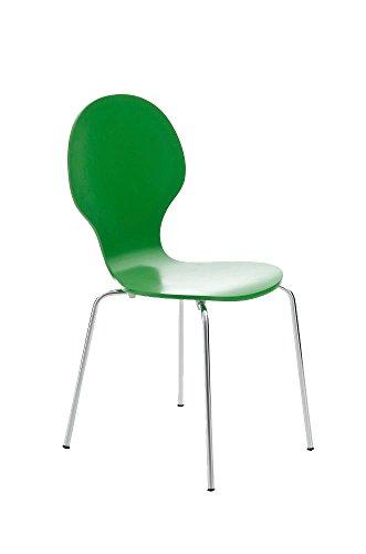 CLP Stapelstuhl DIEGO l Ergonomisch geformter Konferenzstuhl mit Holzsitz und Metallgestell I Stapelbarer Stuhl mit pflegeleichter Sitzfläche