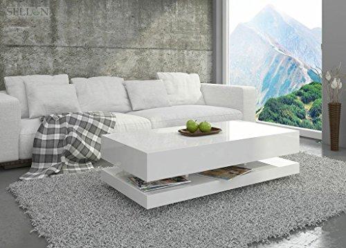 Couchtisch Hochglanz Weiß Wohnzimmer Tisch Beistelltisch Kaffeetisch - Tora - 120x60 / 90x60