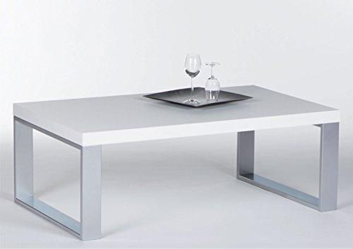 Couchtisch in Weiß Hochglanz mit Metallgestell | Sofa-Tisch mit robuster Tischplatte