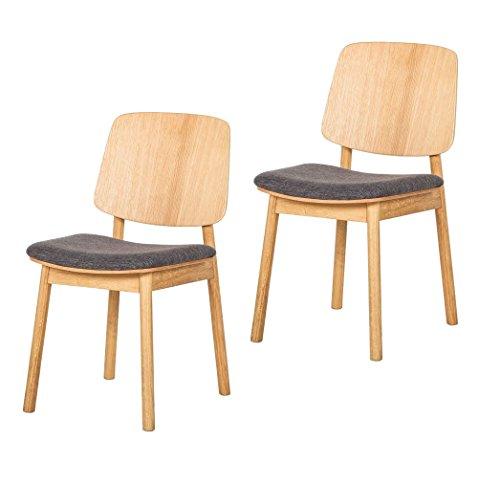 Dynamic24 2X Eiche Massivholz Esszimmer Stuhl Sessel Holz Stühle Küchenstuhl Set Webstoff