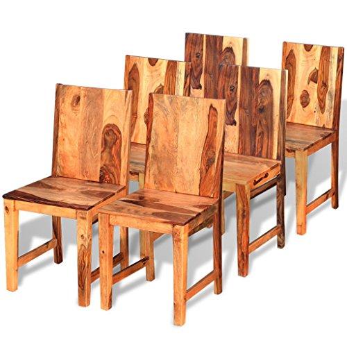 Festnight 6er-Set Esszimmerstühle Holz Stühle Essstuhl Küchenstühle Stuhl-Set aus Sheesham-Massivholz 40 x 46 x 87 cm