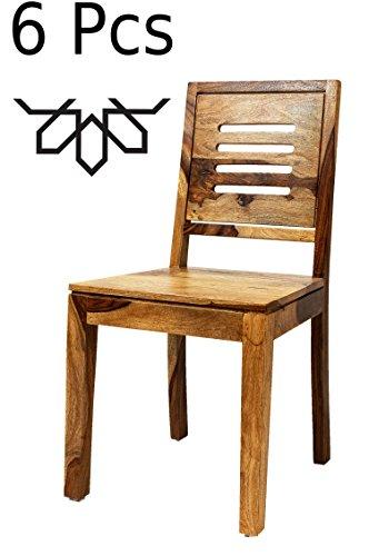 MAADES 6 er Set Esstischstuhl Stuhl aus Holz Massiv Clyde | Vintage Stühle aus Sheesham Massivholz für Ihren Esstisch im Esszimmer | Design Esszimmerstuhl Holzstuhl Modern in Natur Braun