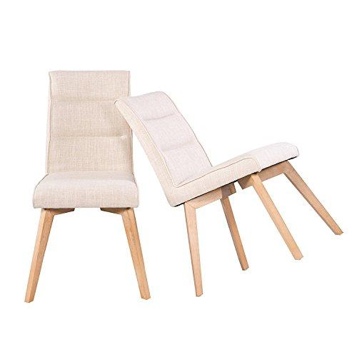 MACOShopde by MACO Möbel Esszimmerstühle 2er Set Küchenstühle - Stühle mit Polsterung Retro Design Stoff