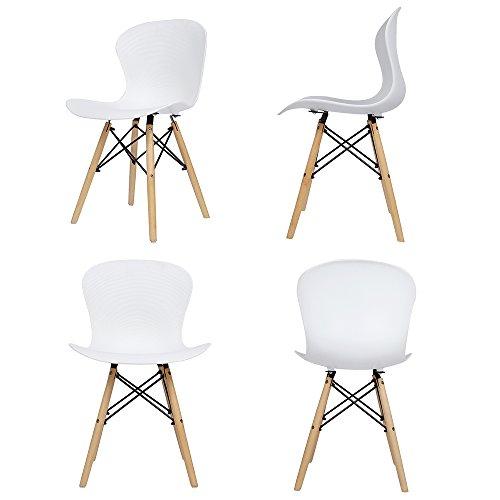 Panana Holzstuhl Eiffel, aus Kunststoff, gerippt, Retro-Stuhl, für Lounge, Esszimmer, 4 Stühle im Set