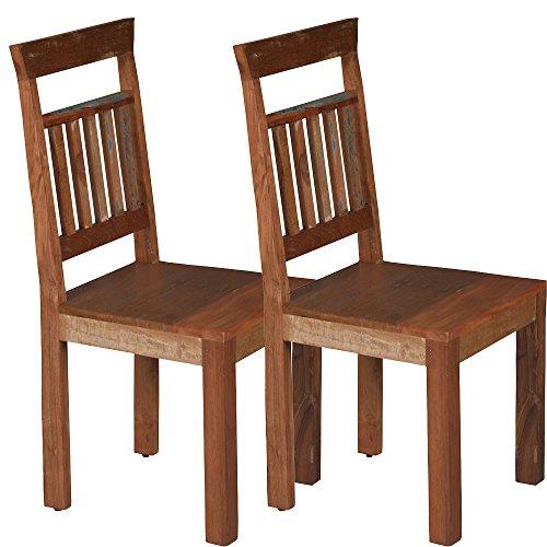 Promafit 2 x Vintage Esszimmerstuhl Gonzales aus Recycling Holz - 2 Variationen - Holzstuhl - Retro/Used Look - perfekt für Esszimmer - braun - Küchenstuhl - Massivholz