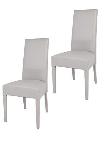 Tommychairs - 2er Set Moderne Stühle Luisa für Küche und Esszimmer, Struktur aus lackiertem Buchenholz Farbe Schwarz, Gepolstert und mit Schwarzem Kunstleder bezogen