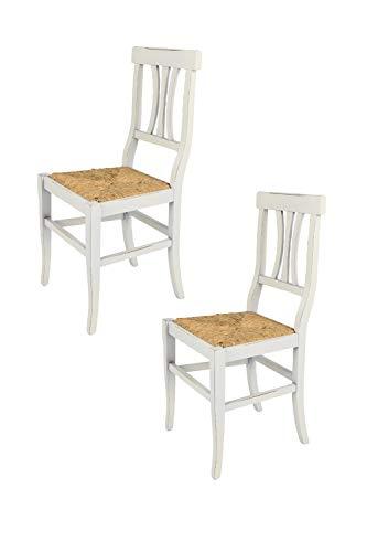Tommychairs - 2er Set Stühle Arte POVERA ANTICATA im Shabby Chic Stil, Robuste Struktur aus Buchenholz, handwerklich antik behandelt und mit Einer Sitzfläche aus Echtem Stroh