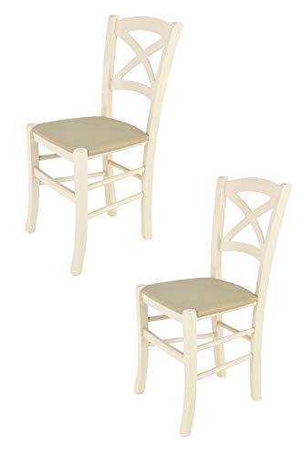 Tommychairs - 2er Set Stühle Cross, Robuste Struktur aus lackiertem Buchenholz in der Anilinfarbe Weiss und Sitzfläche mit Stoff in der Farbe Hanf bezogen
