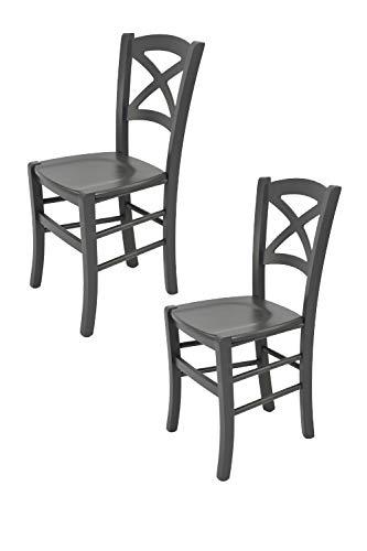 Tommychairs - 2er Set Stühle Cross für Küche und Esszimmer Robuste Struktur aus lackiertem Buchenholz im Farbton Weiss und Sitzfläche aus lackiertem Holz in der Farbe Weiss