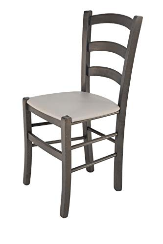 Tommychairs 2er Set Stühle Venice Robuste Struktur aus lackiertem Buchenholz in der Anilinfarbe Dunkelgrau und Sitzfläche mit Kunstleder in der Farbe Hellgrau bezogen
