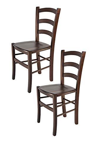 Tommychairs - 2er Set Stühle Venice für Küche und Esszimmer, robuste Struktur aus lackiertem Buchenholz im Farbton Dunkles Nussbraun und Sitzfläche aus Holz. Set bestehend aus 2 Stühlen Venice