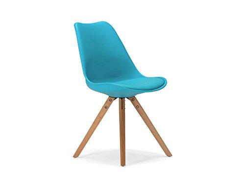 massivum Retro-Esszimmer-Stuhl California 49x83x53 aus Holz natur lackiert und Kunststoff weiß mit Kunstlederkissen