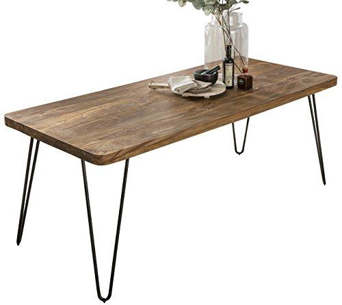 Wohnling Esstisch BAGLI Massivholz 120 x 80 x 76 cm Esszimmer-Tisch Küchentisch modern Landhaus-Stil Holztisch mit Metallbeinen braun Natur-Produkt Massivholzmöbel Echt-Holz