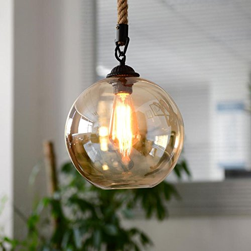 AMZH Moderne Loft American Hanf Seil Retro Glas Pendelleuchten Beleuchtung Bar Esszimmer Lampe Wohnbereich Kreativ Glas Bekleidungsgeschäft Deckenleuchten E27 110V 220V 30CM * 30CM