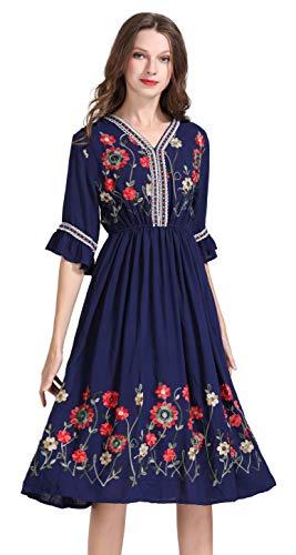 Damen Frauen Vintage Sommerkleider Kleid Mexikanischen Ethnischen Bestickt Minikleid Blume Stickerei Kleid