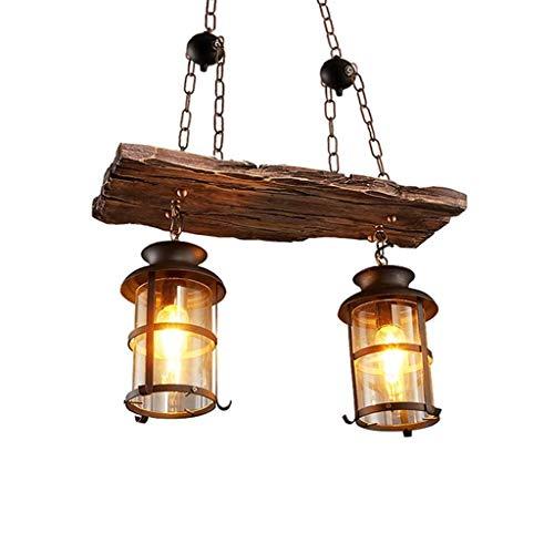 E27 Retro Pendelleuchte Holz Hängende Lampe Vintage Industrielle Hängeleuchte kreative antike Loft Pendellampe Persönlichkeit Esszimmer Kronleuchter Höhenverstellbar Eisen Glas Wohnzimmer Bar Lampe