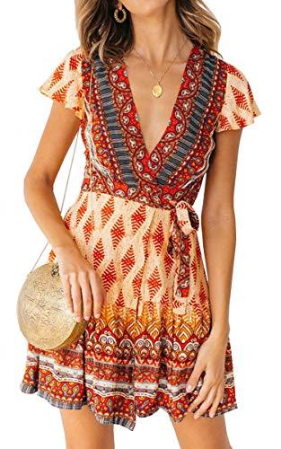 ECOWISH Damen Kleider Boho Vintage Sommerkleid V-Ausschnitt A-Linie Minikleid Swing Strandkleid mit Gürtel