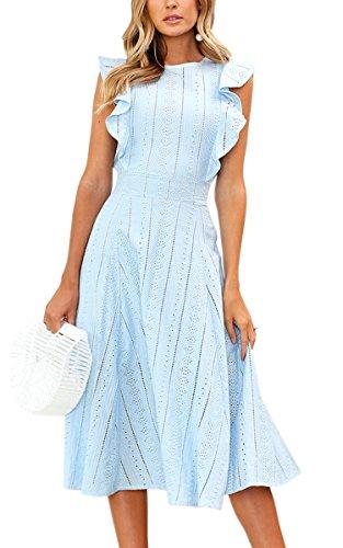 ECOWISH Spitzenkleid Damen Rundhals Ärmellos Sommerkleider Strandkleider A-Linien Kleid Abendkleid Cocktailkleider Knielang